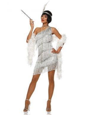 Metallic Silver Women's Gatsby Flapper Fancy Dress Front View