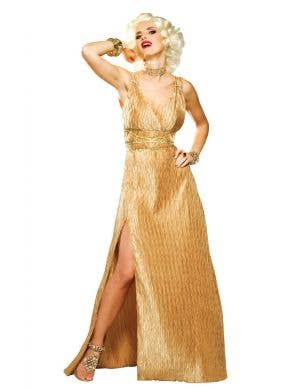 Women's Gold Marilyn Monroe Costume Dress Front View