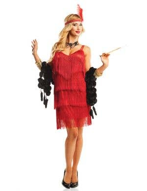 Women's Red Great Gatsby Flapper Fancy Dress Costume Front