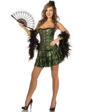 Green Burlesque Women's Corset and Skirt Front Main Image