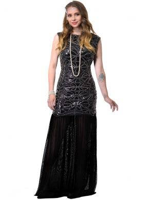 Long Black 1920s Womens Hollywood Gatsby Costume