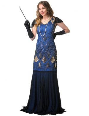 Deluxe Long Blue 1920s Womens Hollywood Gatsby Costume