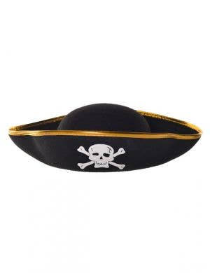 Pirate Hat Black With Gold Trim Costume Accessory