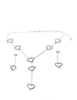 Dangling Hearts Rhinestone Jewellery Set