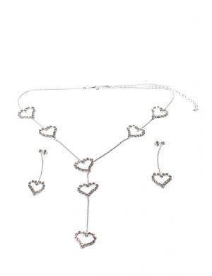 Dangling Hearts Rhinestone Jewellery Set
