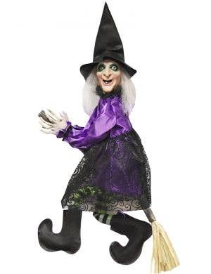 Talking Witch on Broomstick Animated Halloween Decoration Main Image