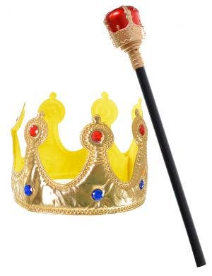Royal Crown and Sceptre King Costume Accessory Set