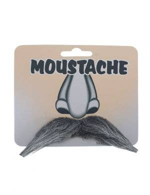 Old Man Grey Fake Moustache Costume Accessory Main Image