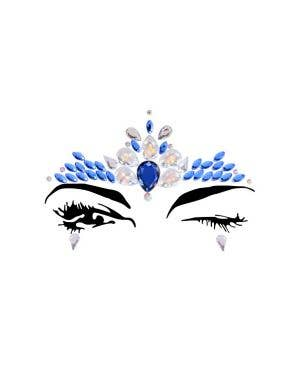 Peacock Blue And White Festival Face Jewels Costume Accessory
