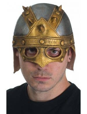 Silver and Gold Viking Latex Helmet with Spikes