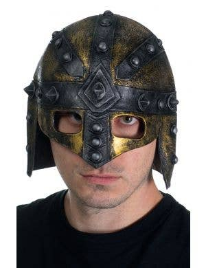 Antique Bronze and Black Viking Latex Helmet with Studs
