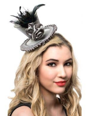 Silver Satin Rosette Mini Top Hat with Peacock Feather View 1