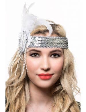 Silver and White Sequins and Feathers Flapper Headband