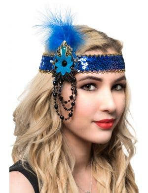 Blue and Gold Flapper Headband with Sequins and Beads