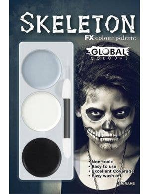 Skeleton Halloween Special Effects Face Paint Makeup Kit in 3 Colours