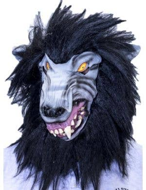Big Bad Wolf Latex Halloween Mask with Black Fur
