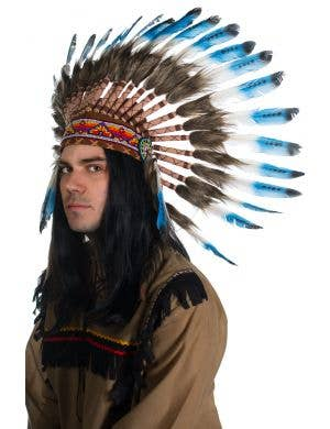 Blue and White Deluxe Indian Chief Feather Headdress Front
