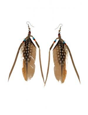 Indian Princess Brown Feather Costume Earrings