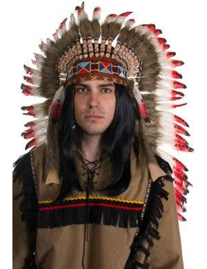 Red Brown and White Deluxe Indian Chief Feather Headdress Front
