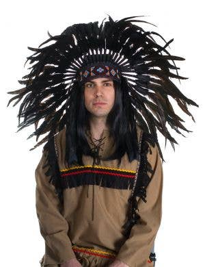 Black Deluxe Indian Chief Feather Headdress Front View