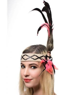 Deluxe Native American Indian Black and Pink Feather Headband Main Image