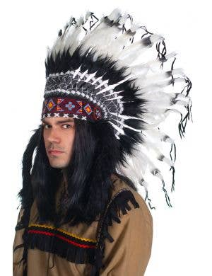 Deluxe Authentic Black and White American Indian Feather Headdress