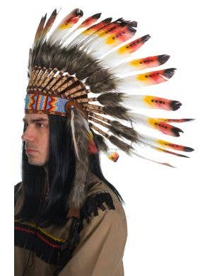 Red and Yellow Deluxe Indian Chief Feather Headdress Side