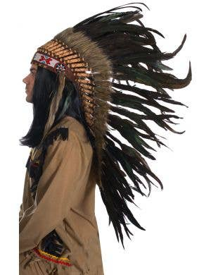 Brown and Black Deluxe Indian Chief Feather Headdress Front View