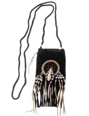 Black Suede Native American Indian Costume Accessory Pouch