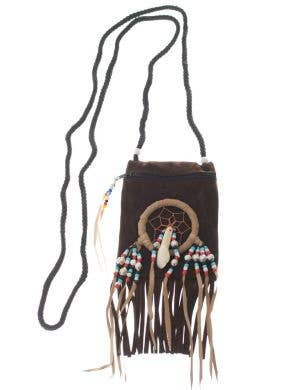 Brown Suede Native Indian Costume Accessory Pouch