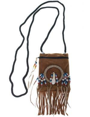 Dark Tan Suede Native Indian Costume Accessory Pouch