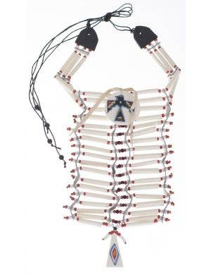 Adult's Indian Faux Bone White Decorated Chest Plate Necklace