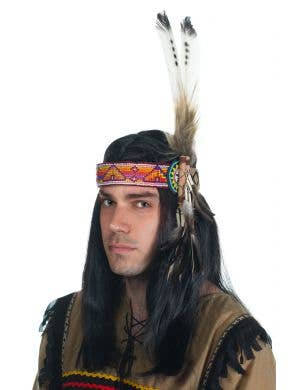 American Indian Feather Headband with Beads