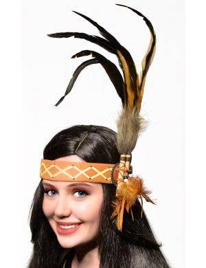 American Indian Deluxe Tan and Brown Headband Costume Accessory