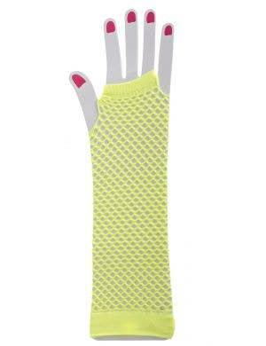 1980's Fluro Yellow Long Fishnet Gloves Image 1