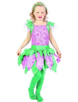 Girls Pink and Green Forest Fairy Fancy Dress Costume