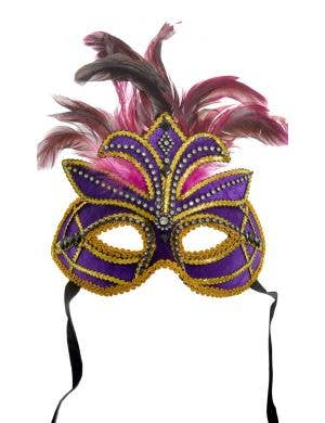 Deluxe Jewelled Purple Velvet Masquerade Mask