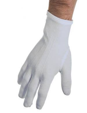 Basic White Fabric Costume Adult's Gloves Main Image