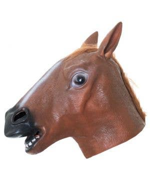 Brown Horse Head Mask Novelty Adult Costume Accessory