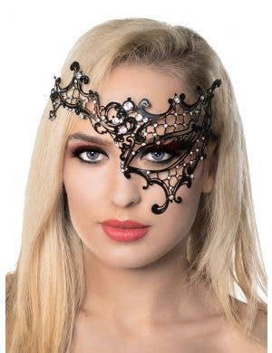 Over Eye Black Deluxe Metal Masquerade Mask
