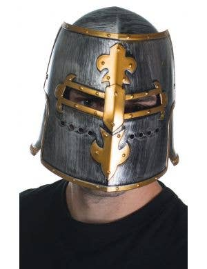 Medieval Knight Costume Helmet in Silver and Gold Main View