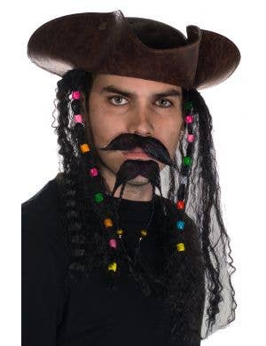 Tricorn Brown Leather Look Pirate Costume Hat with Hair