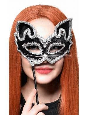 Cat Face Black and Silver Hand Held Masquerade Mask
