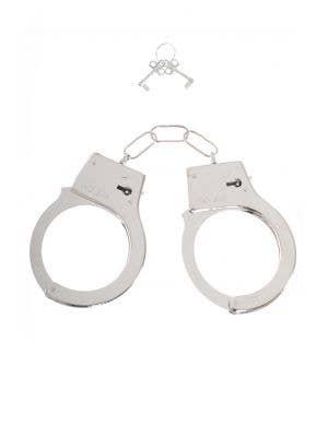 Cop Police Silver Metal Wrist Handcuff Costume Accessory