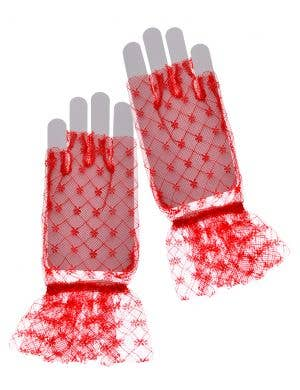 Fingerless Red Lace Gloves 80's Costume Accessory