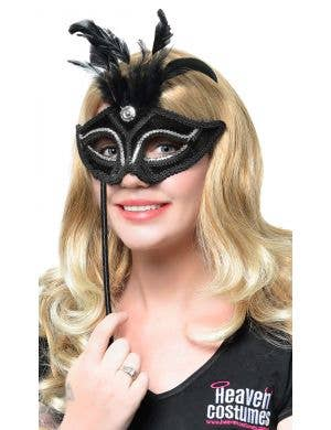 Elegant Black and Silver Velvet Hand Held Masquerade Mask