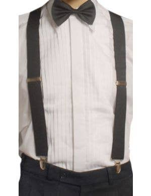 White Elastic Gangster Suspenders Braces Front View