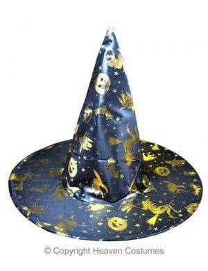 Witch Costume Hat In Black And Gold Halloween Accessory