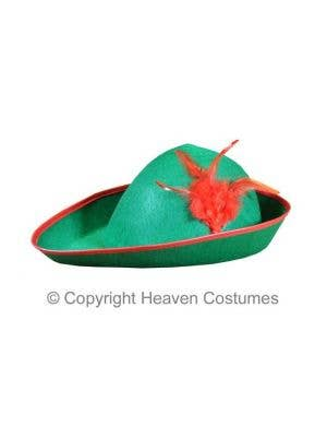 Green Robin Hood Costume Hat With Red Feathers