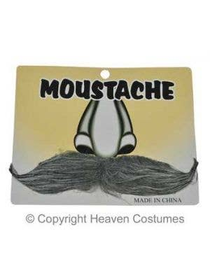 Gentlemen's Grey Stick On Moustache Costume Accessory